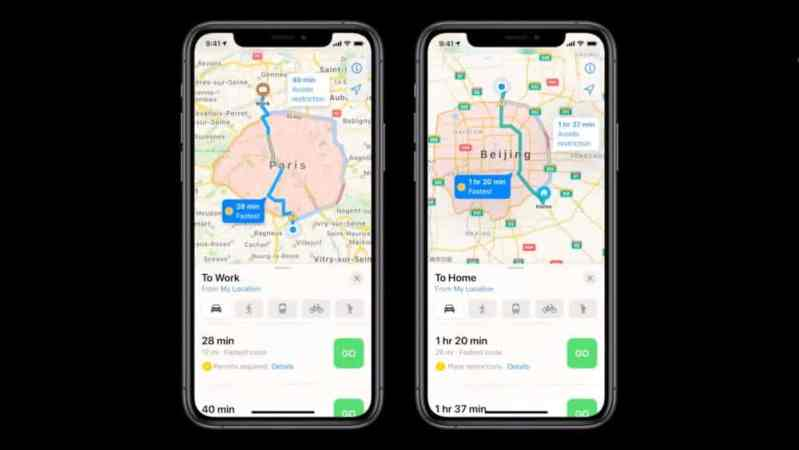 APPLE MAPS BORNES DE RECHARGE