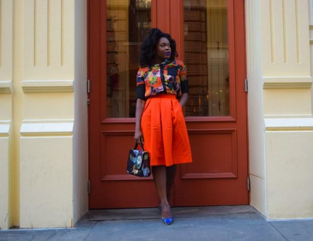 Befitting Style Red Full Skirt Color Block Top 14