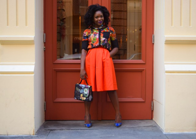 Befitting Style Red Full Skirt Color Block Top 5