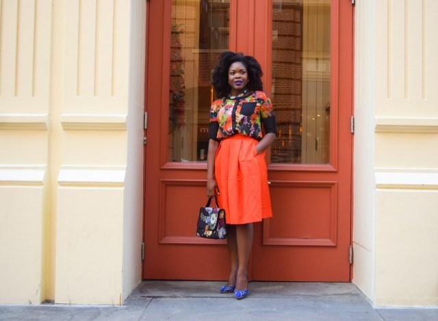 Befitting Style Red Full Skirt Color Block Top 7