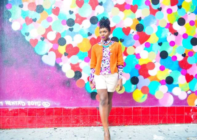 Befitting Style Oyinkan Wearing Brights Button Down w- khaki shorts 2