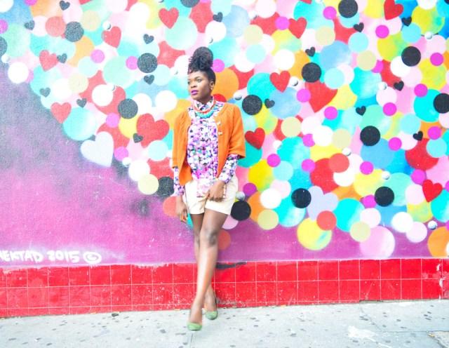 Befitting Style Oyinkan Wearing Brights Button Down w- khaki shorts 3