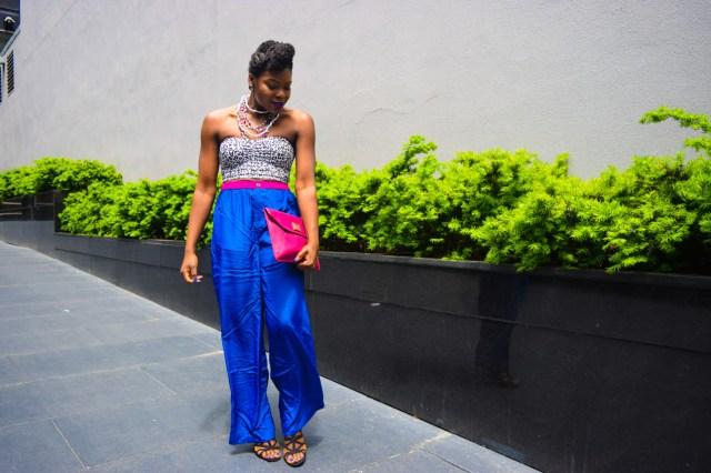 Befitting Style Oyinkan Wearing Cobalt Blue Full Leg Pants 11