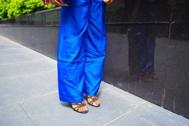 Befitting Style Oyinkan Wearing Cobalt Blue Full Leg Pants 25