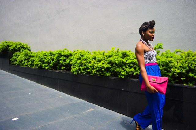 Befitting Style Oyinkan Wearing Cobalt Blue Full Leg Pants 4