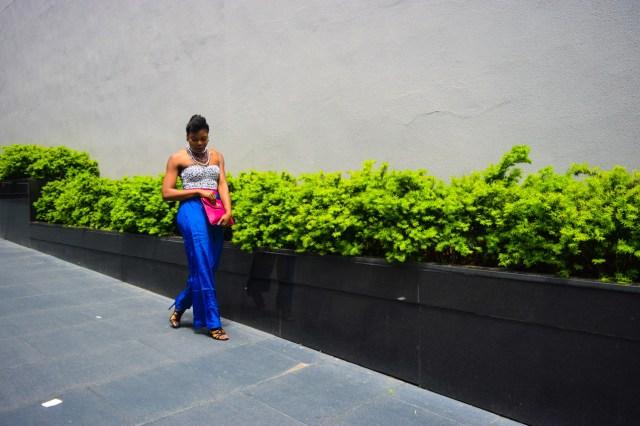 Befitting Style Oyinkan Wearing Cobalt Blue Full Leg Pants 7