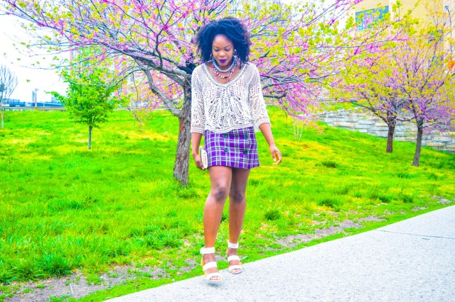 Befitting Style Oyinkan Wearing Purple Plaid Skirt w-Mesh Top 10