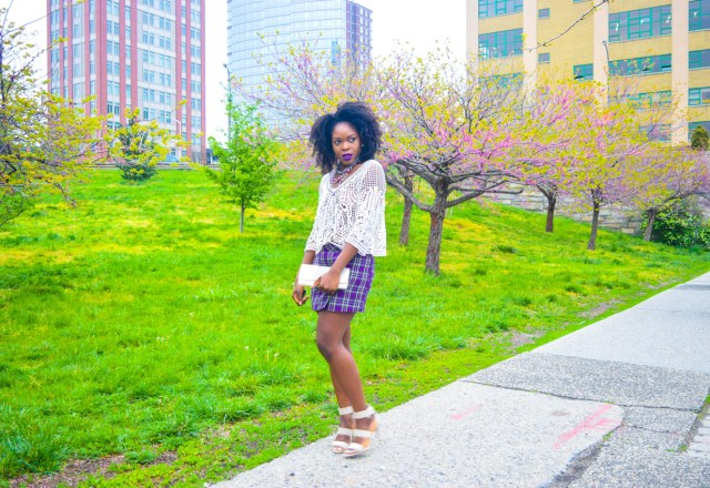 Befitting Style Oyinkan Wearing Purple Plaid Skirt w-Mesh Top 2