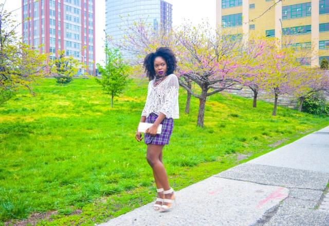 Befitting Style Oyinkan Wearing Purple Plaid Skirt w-Mesh Top 2