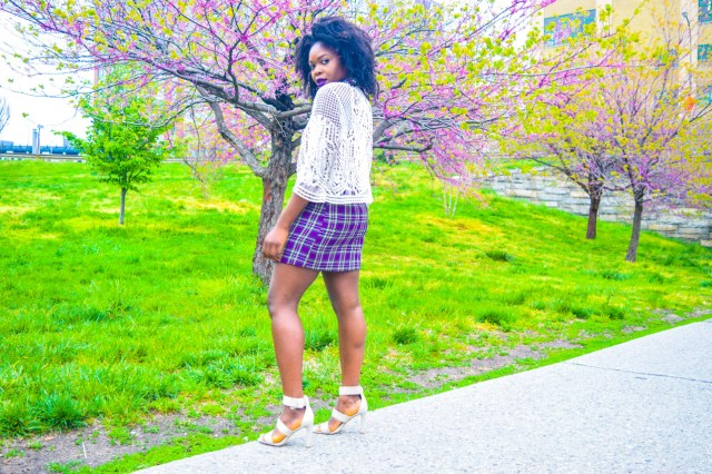 Befitting Style Oyinkan Wearing Purple Plaid Skirt w-Mesh Top 5