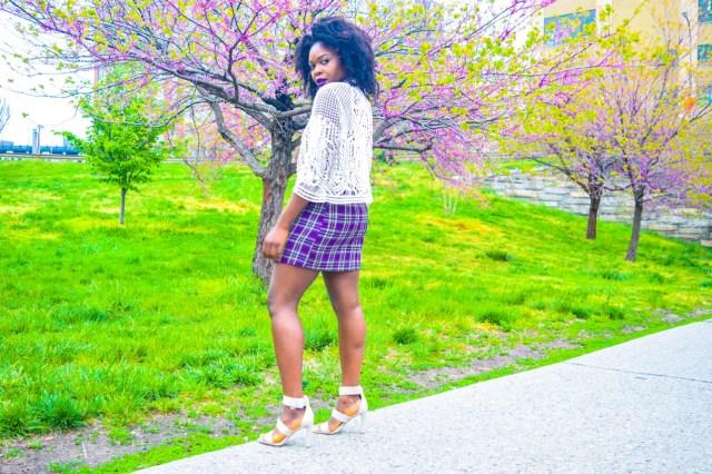 Befitting Style Oyinkan Wearing Purple Plaid Skirt w-Mesh Top 5