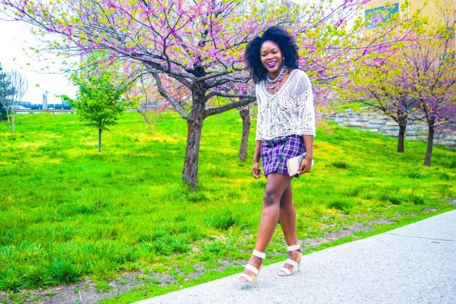 Befitting Style Oyinkan Wearing Purple Plaid Skirt w-Mesh Top 6