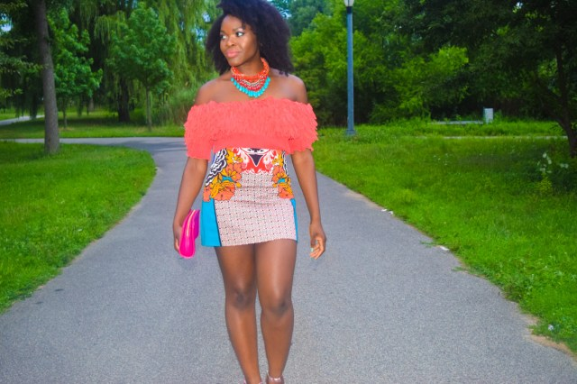 Befitting Style Oyinkan Wearing Orange Off The Shoulder Top With Printed Mini Skirt 7