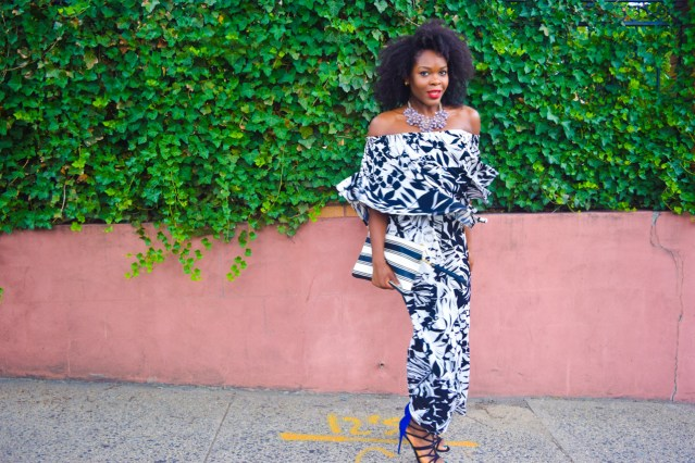 Flounce It | Off The Shoulder Black and White Jumpsuit