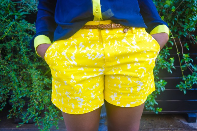 Befitting Style Oyinkan Wearing Blue Button Down Yellow Printed Shorts 17
