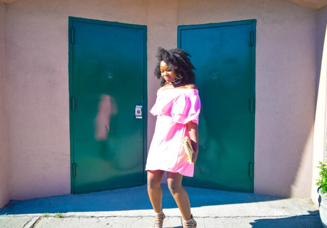 How I Style | Pink Off The Shoulder Dress