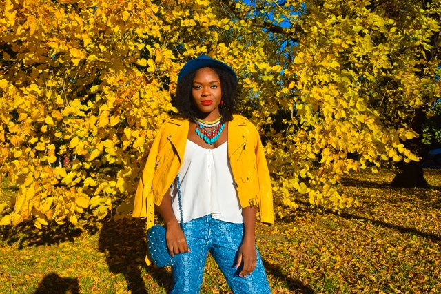befitting-style-oyinkan-wearing-yellow-leather-jacket-blue-pants-13