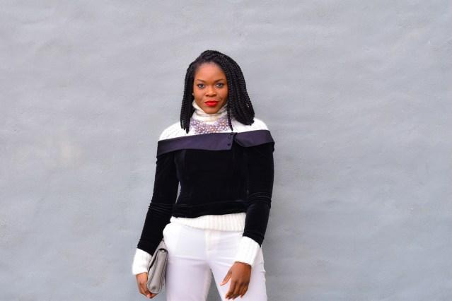 Black Velvet Off Shoulder | Wearing White in Rain | NYFW
