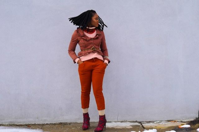 Befitting Style Oyinkan Wearing Brown Ruffled Blazer NYFW 4