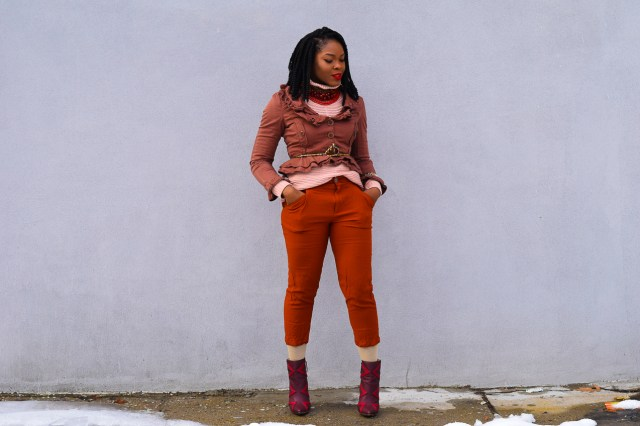 Befitting Style Oyinkan Wearing Brown Ruffled Blazer NYFW4