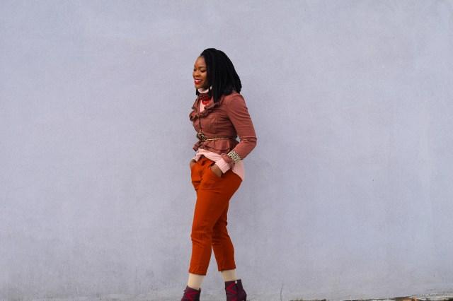 Befitting Style Oyinkan Wearing Brown Ruffled Blazer NYFW 6