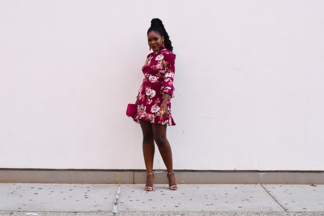 Maroon Floral Dress | NYFW SS18 Day 2