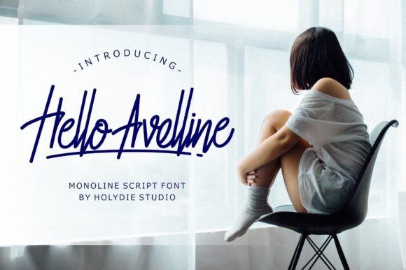 Hello Avelline - Monoline Script Font