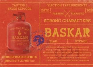 Baskar Stencil Display Font