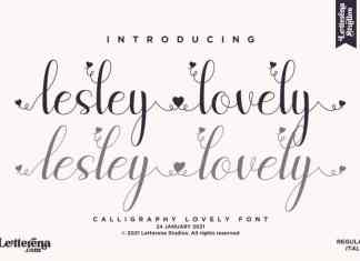 Lesley Lovely Calligraphy Font