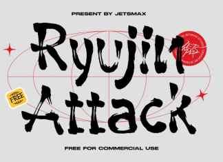 Ryujin Attack Brush Font