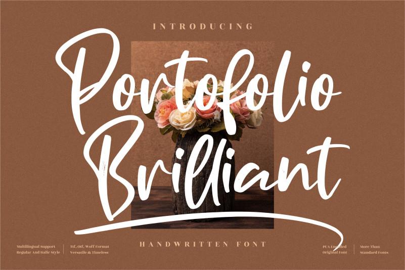 Portofolio Brilliant Script Font