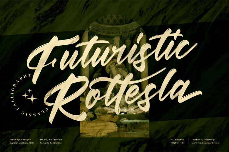 Futuristic Rottesla Brush Font