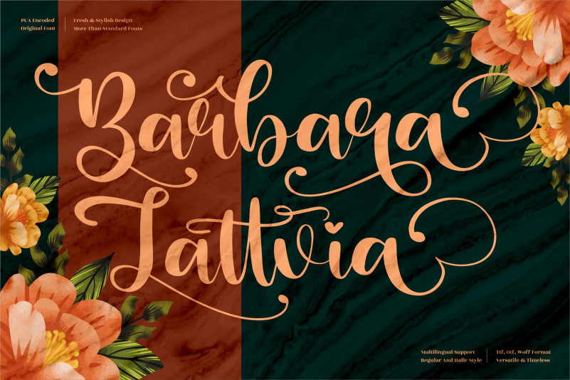 Barbara Lattvia Calligraphy Font