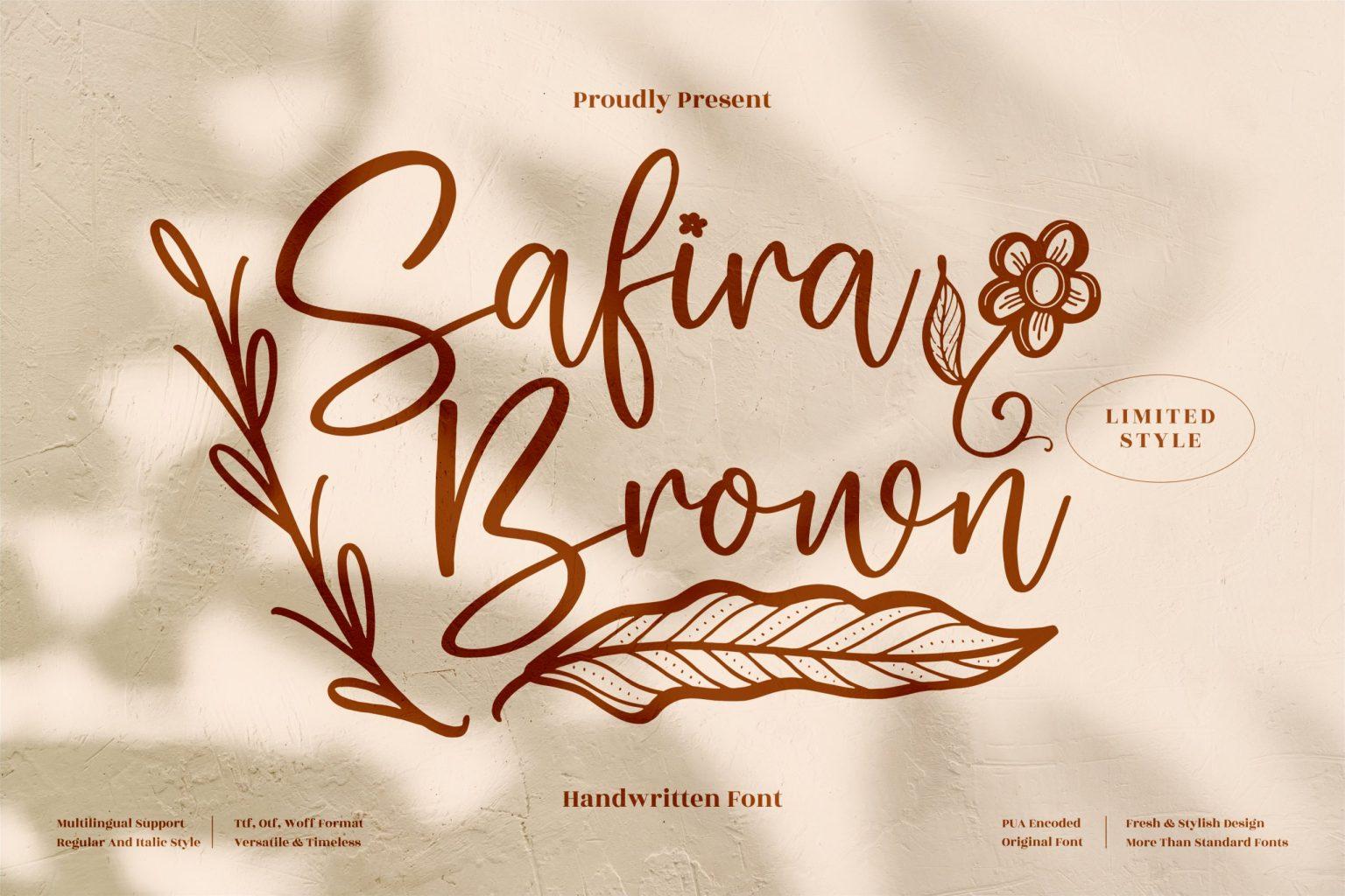 Safira Brown Script Font