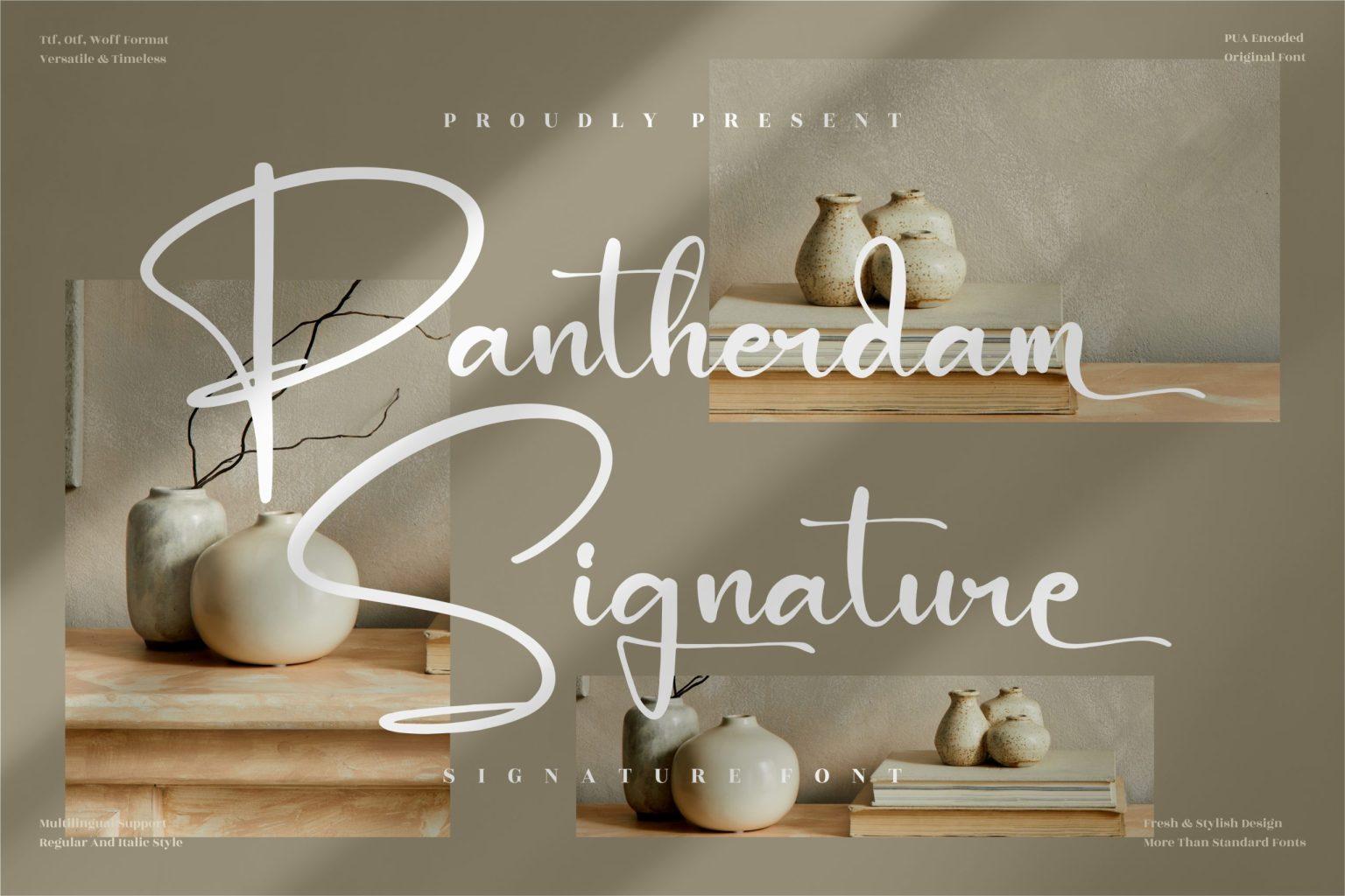 Pantherdam Signature Script Font