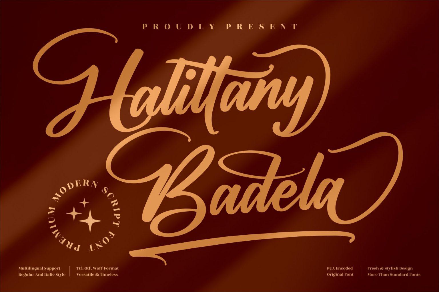 Halittany Badela Script Font