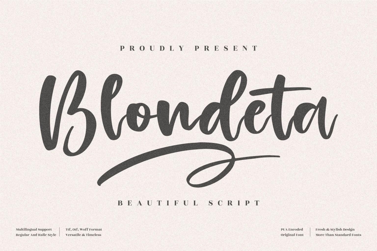 Blondeta Script Font
