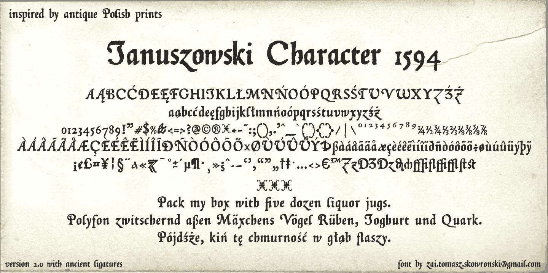 Januszowski Character 1594 Font