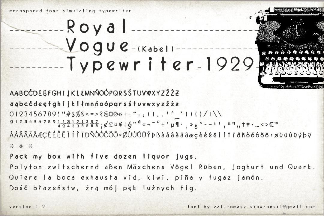 Royal Vogue Typewriter 1929 Font