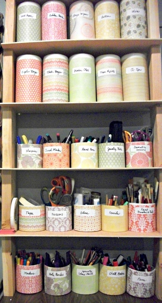 Cut Clorox wipes containers in half to organize craft supplies.