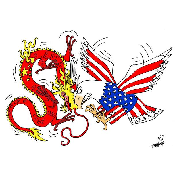 Image result for caricature us vs china