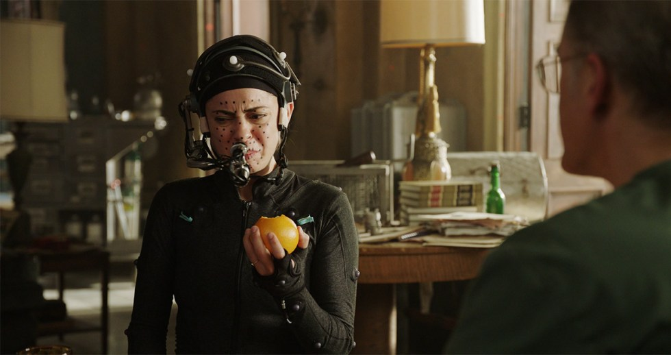 Rosa Salazar performs on set in a full motion capture suit as Alita in 'Battle Angel'.