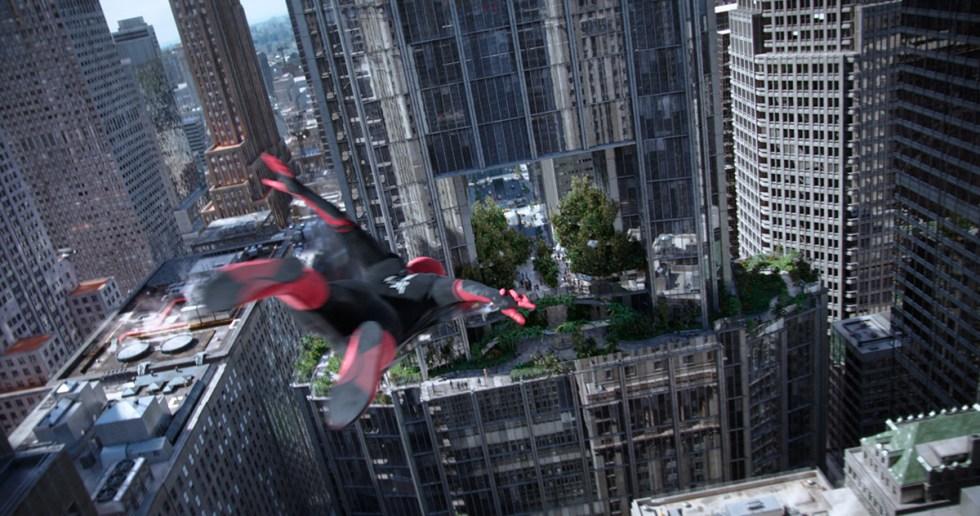 Spider-Man zooms through a building's atrium