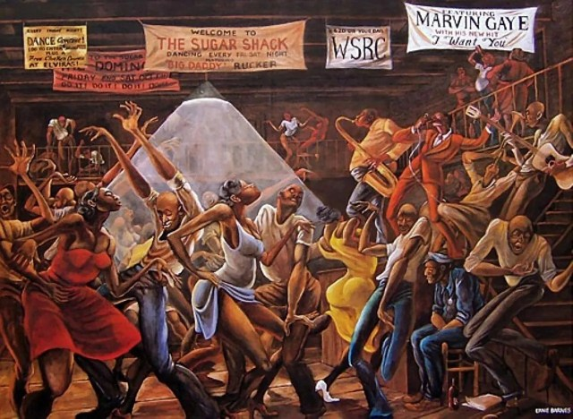 Sugar Shack, the early 1970s_by Ernie Barnes (1938-2009)