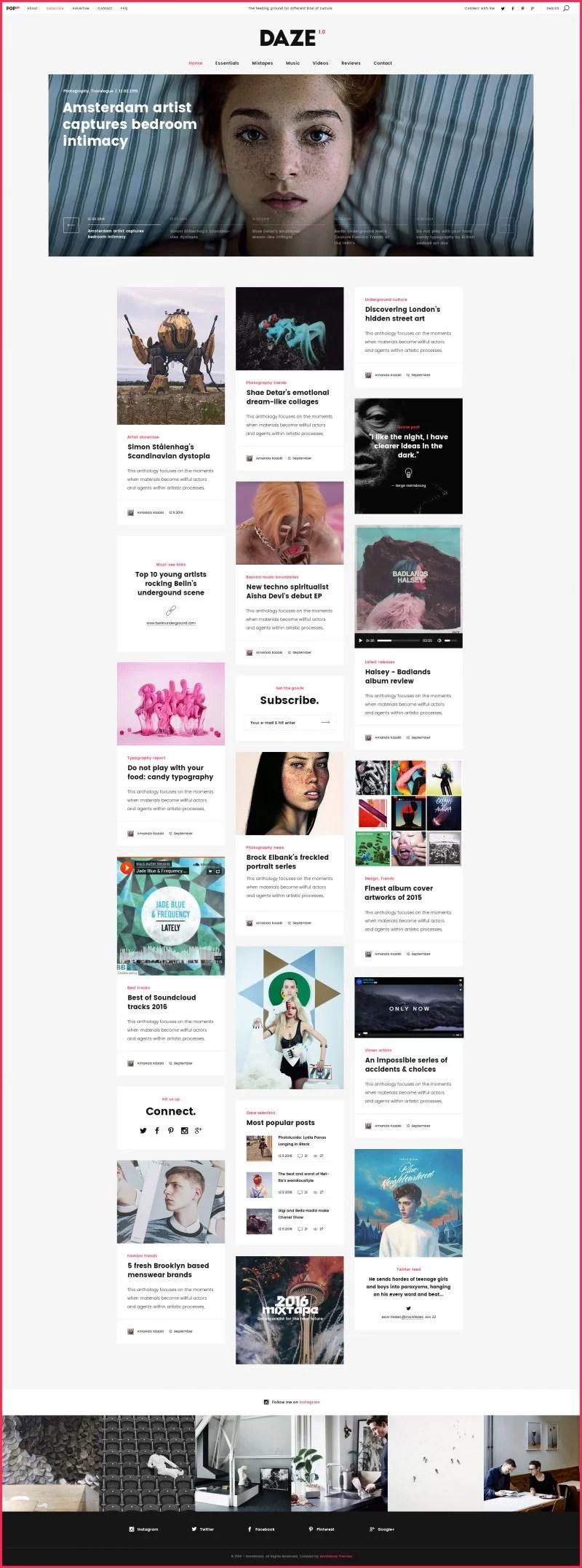 Daze Modern Pinterest Like WordPress Theme