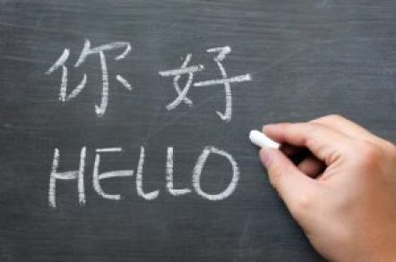 Hello - word written on a smudged blackboard with a Chinese tranlation,with a hand holding chalk