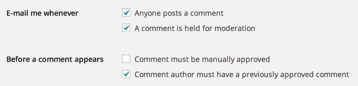 WordPress comments moderation settings