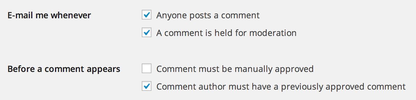 WordPress comments moderation settings