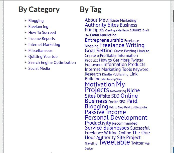 Here's the Archives page on one of Tom's websites, Leaving Work Behind. You'll notice that since categories are a broad grouping, there are few of them. Meanwhile, tags abound. You can also see that the more posts a tag is attached to, the large that tag's text appears on the Archives page.