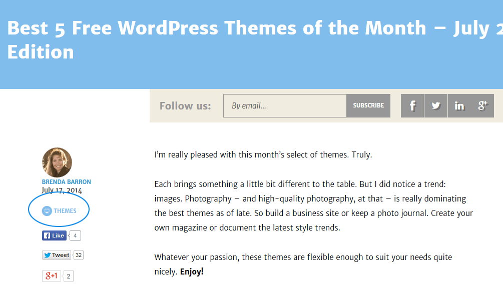 On the ManageWP blog, the category for each post is shown below the author name.